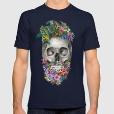 floral beard skull Mens Fitted Tee Navy SMALL