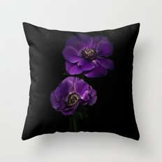 Two Purple Anemones Throw Pillow