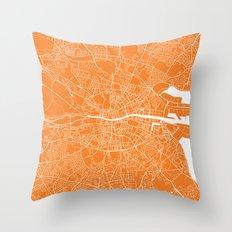 dublin map orange Throw Pillow