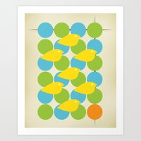 MidCentury Bird Pattern Art Print