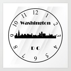 Wall Clock Washington DC Art Print