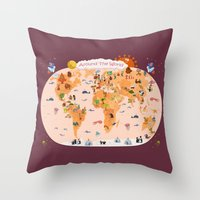 Worldwide map for kids. Throw Pillow