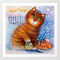 Happy Hanukkah!  Cat Art Print