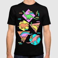 Nineties Dinosaur Pattern SMALL Mens Fitted Tee Black