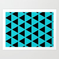 Sleyer Black on Blue Pattern Art Print