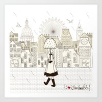 I {❤} Umbrella Art Print
