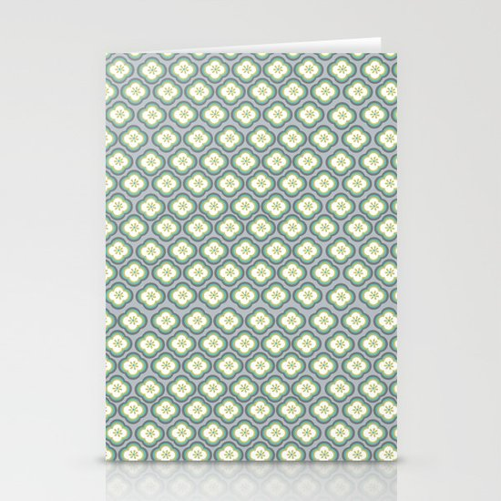 Grey Graphic Flower Stationery Card