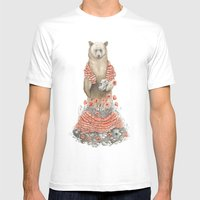 The Bear And The Poppies Mens Fitted Tee White SMALL