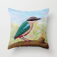 Fairy Pitta Throw Pillow