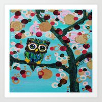 :: Gemmy Owl Loves Jewel… Art Print