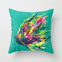 From a black cocoon {green} Throw Pillow