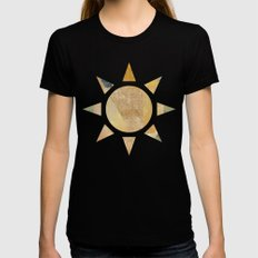 Abstract Grunge Patchwork Womens Fitted Tee Black SMALL