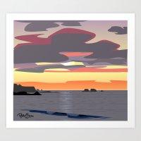 CA coast sunset Art Print