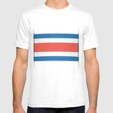Flag of Costa Rica. The slit in the paper with shadows. SMALL White Mens Fitted Tee