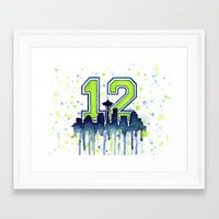 Hawks 12th Man Fan Art Framed Art Print