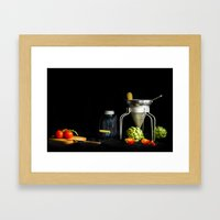 Light Painted Still Life of Tomatoes and Canning Objects Framed Art Print