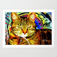Psychedelic Cat Art Print