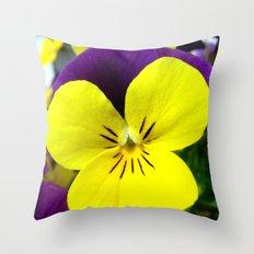 Purple Yellow Flower Throw Pillow