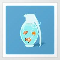 Fish Grenade Art Print