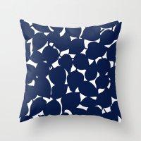 Apple Leaf: Navy Throw Pillow