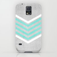Galaxy S5 Cases featuring Teal and White Chevron on Silver Grey Wood by Tangerine-Tane