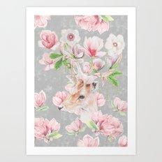 Deer Head & Magnolia's  Art Print