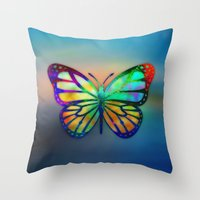 Vivid Butterfly Throw Pillow