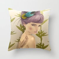 Paradise Bird Throw Pillow