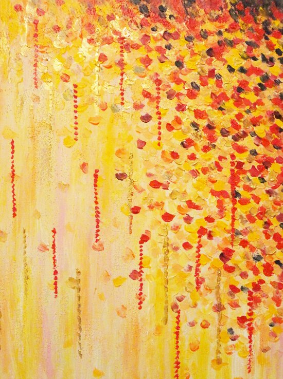 WHEN IT FALLS Bold Autumn Winter Leaves Abstract Acrylic Painting Christmas Red Orange Gold Gift Art Print