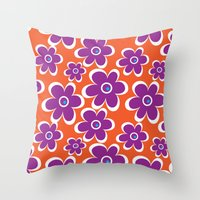 Retro Purple Flower Throw Pillow