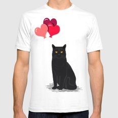 Black Cat Love balloons valentine gifts for cat lady cat people gifts ideas funny cat themed gifts Mens Fitted Tee White SMALL