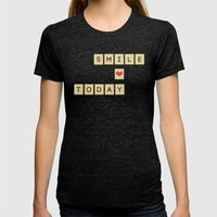 Smile Today Womens Fitted Tee Tri-Black SMALL