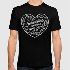 Adventure is where your heart is BW SMALL Black Mens Fitted Tee