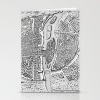 map Stationery Cards featuring Paris map  by Le petit Archiviste
