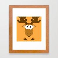 Minimal Moose Framed Art Print