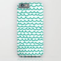 iPhone & iPod Case featuring Squiggly Hand Drawn Lines in Mint  by Rachel Follett