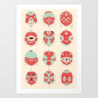 Robot Heads Art Print