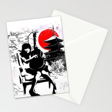 Japanese guitar girl Kyoto Tokyo Stationery Cards