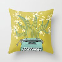 The Typing Tree Blue Throw Pillow