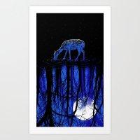 Deep Blue Forest Art Print