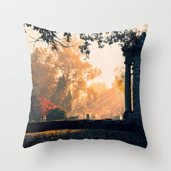 Fall morning at Green Lawn Throw Pillow