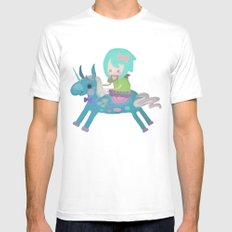 PonyCorn/w SMALL White Mens Fitted Tee
