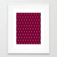 Pink vintage feather pattern Framed Art Print