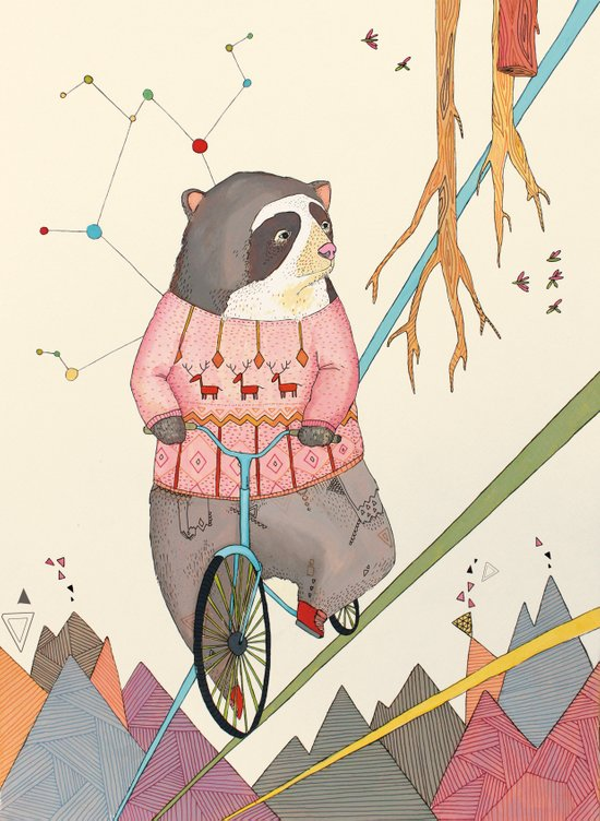 Bear in bicycle Canvas Print