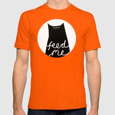 feed me Mens Fitted Tee Orange SMALL
