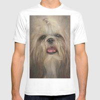 Shih Tzu Mens Fitted Tee White SMALL