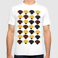Labrador Dog Pattern Mens Fitted Tee White SMALL