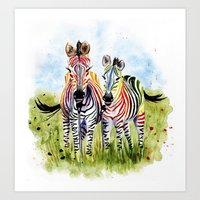 zebra Art Prints featuring Zebra by Anna Shell