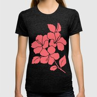 Hibiscus Flowers Animal … Womens Fitted Tee Tri-Black SMALL