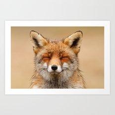 Zen Fox (Red Fox Smiling… Art Print